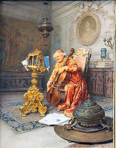 The Cello Player by Giuseppe Signorini Italian 1857 1932 | eBay
