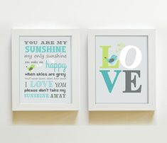 Nursery Art - You are my sunshine prints for any childs room or nursery. ** FRAME ARE NOT INCLUDED , FOR DISPLAY ONLY. **  This is a set of two 8 x 10 or 11 X 14 colorful prints for boys room. This beautiful design includes a You are my sunshine and the LOVE prints. The prints can be customized with your choice of colors printed to perfection for any little boys room, or nursery. Pick any 3 colors ! Send me a message via ETSY conversations with any questions. • Fits into any standard frames…