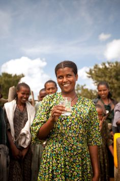 This woman from Tekesis, Ethiopia, quit school a few years ago so that she'd have more time to take care of family chores, which included walking up to two hours for water each day. Now her village has a freshwater well — she and the other girls nearby have clean water within a short 15-minute walk. (to see other photos of smiling people - happy to have WATER - http://pinterest.com/charitywater/photo-of-the-day/  )