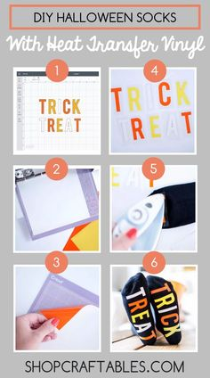 This DIY Halloween cotton socks project will take approx. All you will need is: Electronic Cutting Machine Cutting Mat Smooth HTV in Orange, Yellow and White or Heat Press Knee High Socks Vinyl Crafts, Vinyl Projects, Diy Craft Projects, Craft Tutorials, Halloween Socks, Halloween Vinyl, Silhouette Projects, Silhouette Cameo, Cheap Heat Transfer Vinyl