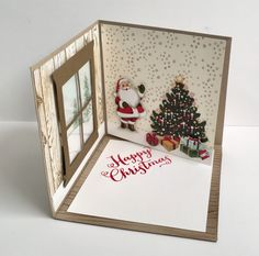 """Corner Pop Up Card"" fun idea for room setting for holiday card"