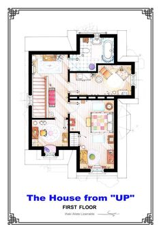 Jetsons House Floorplan reconstructed by architect Mark Bennett    Amazing Art Floorplans of TV Shows and Movies From Up to Simpsons