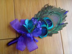 Peacock feather  boutonniere corsage customize by DressMyWedding, $11.00