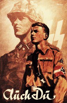 NS-Propaganda-Plakat Hitlerjugend in die SS