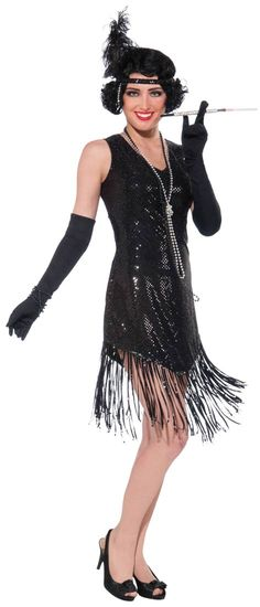 Sexy Black Swingin' in Sequins Flapper Costume - Flapper Costumes GOOD PRICES