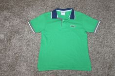 Lacoste Boys Short Sleeve 100% Cotton Polo Shirt Green Blue Gray Size 10 #Lacoste #Everyday