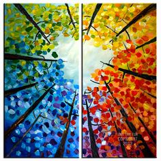 Abstract forest Looking up, Contemporary acrylic painting Autumn Natural Organic Art 48x48x1.6. $428.00, via Etsy.
