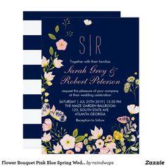 Flower Bouquet Pink Blue Spring Wedding Invitation