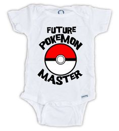 Future POKEMON MASTER Onesie by JujuApparel on Etsy Baby clothes, baby shower, great gift ideas, baby boy, baby girl, baby, babies, baby onesie, baby bodysuit, cotton, Pokemon, baby fashion, cute shirts, Funny shirts