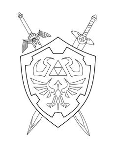 Zelda coloring pages - children& coloring page . Legend Of Zelda Tattoos, Disney Coloring Pages, Coloring Book Pages, Shield Drawing, Zelda Drawing, Zelda Birthday, Diy Tattoo, Video Game Art, Pokemon