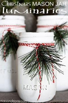 Painted Mason Jar Luminaries Decorated with Twine and Greenery