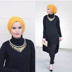 @omayazein looks stunning in our mustard hijab.  Top from @bzarinacollection #fallfashion