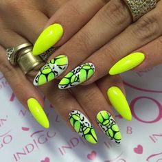 Fashionable Summer Manicure - TOP Wonderful Inspirations for Let-Modny Manicure na Lato – TOP Cudownych Inspiracji na Letnie Paznokcie Trendy Summer Manicure – TOP Wonderful Inspirations for Summer Nails - Neon Nail Art, Neon Nails, Bling Nails, Love Nails, Pretty Nails, Easy Nail Polish Designs, Nail Art Designs, Bright Nails, Yellow Nails