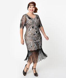 Plus Size Jahre Stil Black & White Sequin Florent Flapper Dress 1920s Formal Dresses, 1920s Bridesmaid Dresses, 1920s Fashion Dresses, 1920s Outfits, Formal Dress Shops, Unique Dresses, Edwardian Fashion, 1920s Evening Dress, Silk Evening Gown