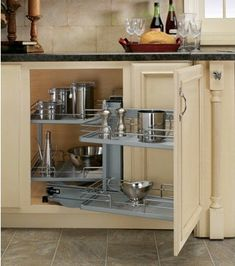 blind corner cabinet organizer neat for when a lazy susan doesn't work!