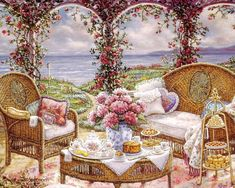 Gardens and Florals Art Paintings - Romantic Realistic Paintings by Janet Kruskamp  Wallpaper