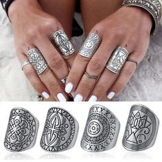 4pcs Vintage Gypsy Boho Carved Totem Antique Silver Plated MIDI Rings for Women | eBay