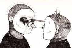 Farizwan Fajari Is Speak Cryptic – view more (bizzarre) images @ http://www.juxtapoz.com/Illustration/farizwan-fajari-is-speak-cryptic – #illustrations #mask #cryptic