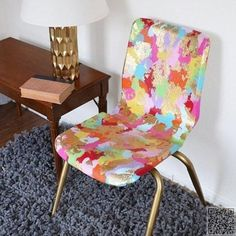 12. Gold Leaf and #Paint Transform an Old #Plastic School #Chair - Gold Leaf DIYS That Bring the #Bling to Your Life ... → DIY #Throne