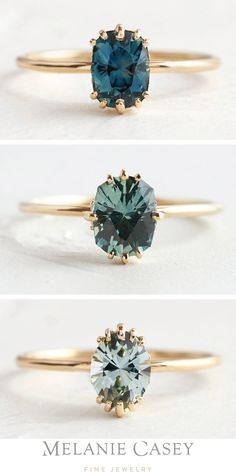 One of a kind Montana sapphires in unique stone cuts, with gorgeous blue and green coloring. Set in simple, delicate yellow gold solitaire settings, these alternative engagement rings are available now at . Colored Engagement Rings, Dream Engagement Rings, Alternative Engagement Rings, Engagement Ring Settings, Vintage Engagement Rings, Nontraditional Engagement Rings, Engagement Rings With Sapphires, Aquamarine Engagement Rings, Engagement Rings Not Diamond