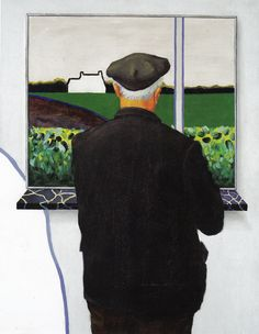 Father in front of the windowpainting - Roger Raveel Modern Art, Contemporary Art, Art Database, Artist At Work, Pop Art, Belgium, Artwork, Father, Paintings
