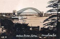 Sydney Harbour Bridge. To see all our old postcards of Australia, visit http://oldstratforduponavon.com/australia.html