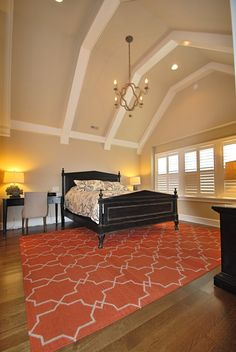 Michael Molesky Interior Design -Delaware master bedroom with beamed cathedral ceiling. Contemporary Furniture, Home Furnishings, Master Bedroom, Interior Design, Architecture, Bedrooms, Delaware, Cathedral, Vibrant
