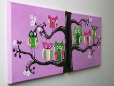 Acrylic Painting - Owls on a Branch - two 11x14 canvas wall art set for children via Etsy