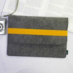 "13"" Felt Macbook Pro Air Sleeve Macbook Case Macbook Bag Macbook Holder Wallet Handmade Personalized with Yellow Elastic Strip E1148-MGra03. $29.00, via Etsy."