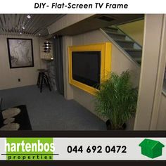 Weekend projects! DIY Flat-Screen TV Frame Want to camouflage that big flat-screen TV hanging on your wall? Build this DIY frame to turn the TV into a stylish part of your decor. #DIY #weekend #projects