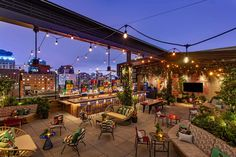 New York Rooftop, Rooftop Bars Nyc, Rooftop Restaurants Nyc, Rooftop Terrace, Backyard Pavilion, Painted Stairs, Painted Staircases, Long Island City