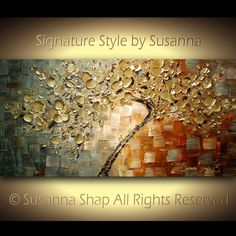 ORIGINAL Large Contemporary Textured Gold Cherry Blossom Tree Painting Modern Palette Knife by Susanna Ready to Hang Gallery Canvas 48x24. $425.00, via Etsy.