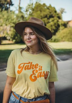 Take it easy and life will be grand. Boyfriend fit tee in yellow. Take it Easy Tee / t shirt / womens graphic tees / vintage style shirt Perfect Boyfriend, Boyfriend Tee, 70s T Shirts, Tee Shirts, Vintage Outfits, Vintage Fashion, Vintage Style, Take It Easy, Shirt Style