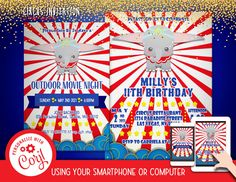 Circus Invitation Font Editable Template Instant Download Digital Files by clipartsuperstore on Etsy Circus Invitations, Invitation Fonts, Outdoor Movie Nights, Party Items, Rsvp, Templates, Digital, Birthday, Etsy