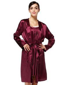 VIPme (VIPSHOP Global) - MEILAIYA Wine Elegant Polyester Plain Mid-Length Sleep & Lounge - AdoreWe.com