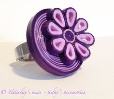 Quilled flower ring by Yesterday's news - today's accessories