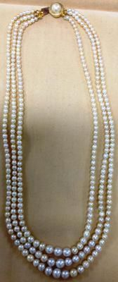 Antique Basra Pearl Necklace 170 Carats: Shape: Round and Off-Round  Sizes: Biggest pearls: 7 to 7.5 mm Smallest: 3 to 3.5 mm