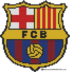 FC Barca Knitted Cushion Covers, Knitted Cushions, Cross Stitch Letters, Cross Stitch Rose, Hama Beads Patterns, Beading Patterns, Knitting Charts, Knitting Patterns, Pixel Art