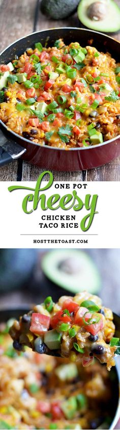 One Pot Cheesy Chicken Taco Rice.  This 30 minute, one pot meal will become a quick family favorite!   http://hostthetoast.com