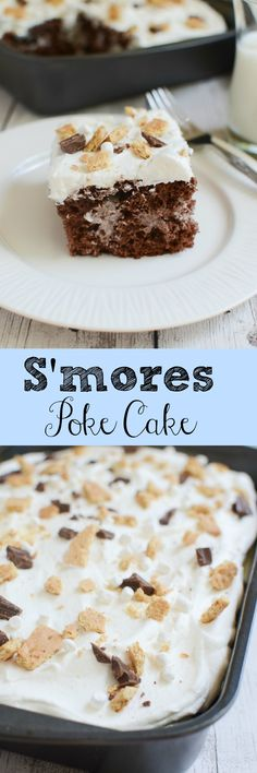 S'mores Poke Cake - chocolate cake with marshmallow sauce inside! And topped with Cool Whip, crushed graham crackers, Hershey's bars, and marshmallows!