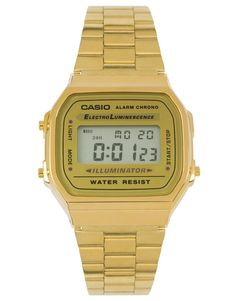 $84, Casio A168wg 9ef Gold Plated Digital Watch. Sold by Asos.
