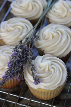 Honey lavender cupcakes with a honey cream cheese frosting- LOVE the frosting shape and lavender as accessory