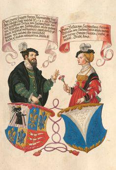 Herr Georg Fugger x 1542 Frau Ursula von Liechtenstein. (Bildnr 102) -- «Das Ehrenbuch der Fugger» [BSB Cgm 9460] (The Secret Book of Honors of the Fugger Family), 1545 and after, Augsburg. -- Présentation at: http://www.wdl.org/en/item/8920/#q=The+Secret+Book+of+Honors+of+the+Fugger+Family&qla=en