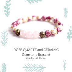 LOVE // Rose Quartz Bracelet - Beaded Bracelet - Stretch Bracelet from $27.00  This feminine bracelet will unleash the power of love when you wear it. The painted roses on the ceramic beads and Rose Quartz are the perfect symbol for love. ROSE QUARTZ Associations: All Types of Love, Compassion, Self Esteem Chakras: Heart, Higher Heart Zodiac: Taurus, Libra  #etsymumbles #product #braceletforsale #smallbiz #instadaily #instashop #instacool #instagood #crystalhealingjewlery #crystalhealing…