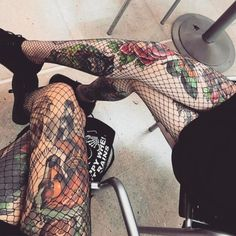 Tattoos under Fishnet Tights Pic