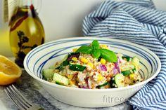 Svieži šalát s pohánkou | fitrecepty.sk Tofu, Cottage Cheese, Pasta Salad, Potato Salad, Salads, Potatoes, Vegan, Cooking, Health