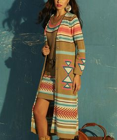 This Beige & Pink Southwestern Open Duster by Roja is perfect! #zulilyfinds
