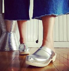 Swedish Clogs Classic Silver Leather by Lotta from Stockholm /