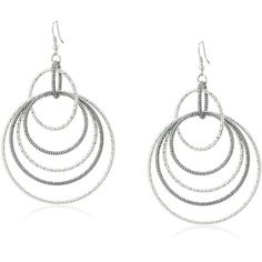 """GUESS """"Basic"""" Mixed Metal Textured Orbital on Wire Drop Earrings (€18) ❤ liked on Polyvore featuring jewelry, earrings, drop earrings, gypsy jewelry, gypsy earrings, hoop earrings and drop hoop earrings"""