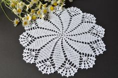 New hand-crocheted doily. This beautiful, lacy doily would be an elegant centerpiece, a lovely accent for your home. Color: white. Please note that colors shown may vary depending on your monitor settings. Material: 100% mercerized cotton. Size approximately: 9.4 in (24 cm). Please,
